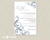 PRINTABLE Elegant Swirls Party Invitation - Customized Invitations by Little Celebrations
