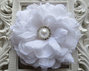 Fabric Flower in White Silk and Organza for  Brooch or Hair Accessories