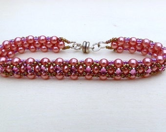 Beaded Bracelet with Swarovski Montee Crystal