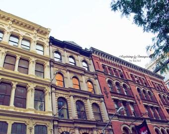 NYC Photography, Pink and Yellow, City Art, Building Photo, Urban Decor, NYC Office Decor, NYC Building Print, Manhattan Print