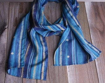 60s Teal Striped Scarf - Vintage Striped Blue and Teal Scarf