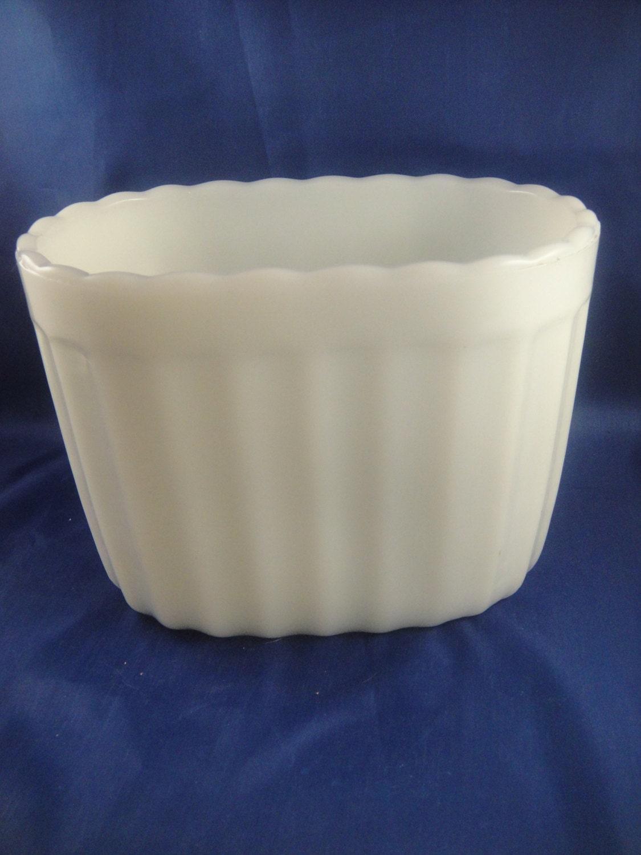 Milk Glass Vase Mate Oblong Shaped Planter