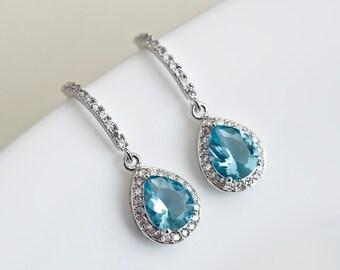 Bridal Earrings, Bridesmaids Earrings, Rhodium Plated Cubic Zirconia Aquamarine Earrings, Wedding Jewelry, Bridal Jewelry, Dangle Earrings