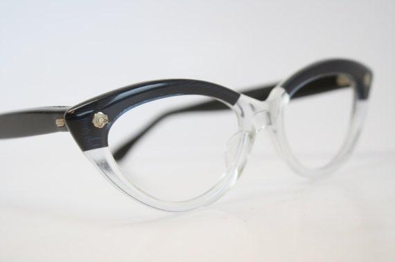 Blue Clear cat eye glasses vintage cateye frames eyeglasses