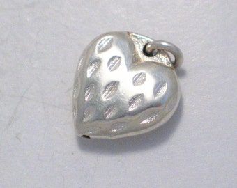 Hollow / puffed 925 sterling silver heart with diamond cut accents love theme bracelet charm or pendant