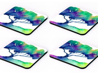 Modern Coasters - Bright Hue Tree Tile Art - Coffee Table Drink Tile Ceramic Coaster Set