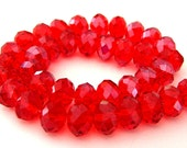 16 red 10mm crystal beads, sparkly Chinese crystal, 10mm x 7mm rondelle beads