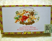 Cigar Box for crafting, purses, supplies   - La GLORIA De CUBANA - Wavell - Yellow and Red on White