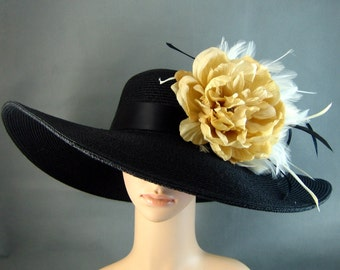 Champagne Derby Hat, Formal Hat,Wide Brim, Fascinator