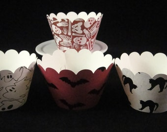 Ghosts, Bones, Bats and Cats  Halloween Cupcake Wrappers