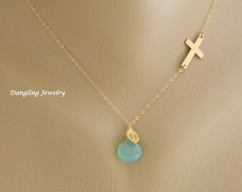 Personalized Sideway Cross Necklace, Birthstone Necklace, Initial Necklace, Religious Jewelry, Gift for Coworker, New Mom, Confirmation Gift