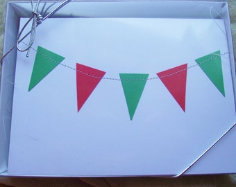 Blank Christmas Notes Cards Sewn Holiday Greeting Bunting Pennant Red Green flag 5 x 7 inch white hostess 6 cards stocking stuffer
