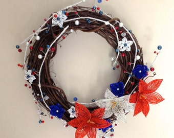 French Beaded Flower Patriotic Wreath