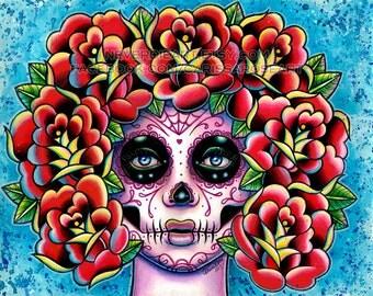 Quietude Art Print  - 5x7, 8x10, or 11x14 - Sugar Skull Girl With Roses Tattoo Illustration Flash Design Painting Wall Art