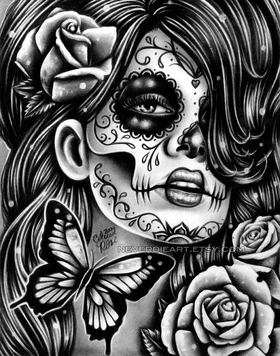 Day of the Dead Poster Sugar Skull Girl Butterfly by ...