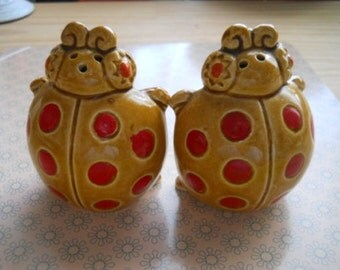 Ladybug Salt and Pepper Shakers - Vintage, Collectible
