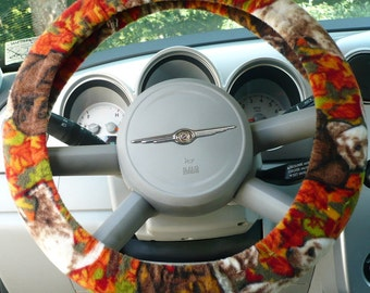 Fleece - ( Warm ) -  Car  Steering Wheel Cover - ( Cars Only ) -  Labadors In Fall Theme