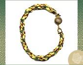"8"", Brown Hemp, Gold, Green, and Burgundy Satin Cord, Fiber Kumihimo Braided Bracelet, Gold Box Clasp with Brown Jasper Inlaid Cabochon"