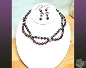 """15"""" Purple and Gray Faceted Fresh Water Pearls Entwined with Fancy Circles Magnetic Clasp Necklace And/Or Earrings, All Sterling Silver"""