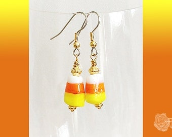 Hook Earrings Halloween Thanksgiving Yellow Orange Lampwork Candy Corn Silver Gold Silver Mixed Metal Gold Spacers Surgical Steel Ear Wires