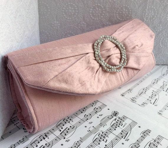 Pink clutch purse with rhinestone silver buckle, bow clutch, wedding clutch, bridal bag, silk clutch