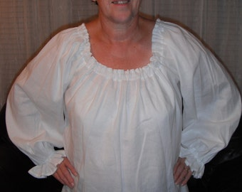Womens (XL, 2XL, or 3XL) Renaissance Faire Long Sleeve Chemise Blouse