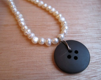 Black and Pearl Vintage Button Necklace