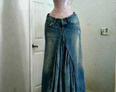 Lucky brand ballroom jean skirt Renaissance Denim Couture fairy goddess mermaid belle bohémienne Made to Order