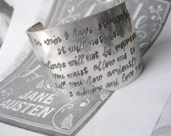 Pride and Prejudice Metal Stamped Fashion Cuff Aluminum Bracelet - Mr. Darcy's Proposal - Jane Austen