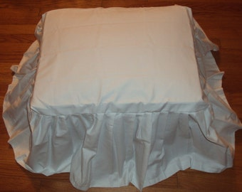 Long Flowing Ruffles SlipCovers for Your Foot Stool Ottoman or Bench  - White Cotton  - Custom made to fit