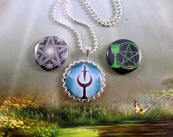 Wiccan Necklace, MAGNETIC Necklace, Gift for Her, 3 in 1 Necklace, Pagan Necklace, Interchangangable Necklace,  Extra Toppers Available