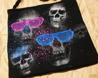 Black Skull Tote Neon Sunglasses Skulls Shoulder Bag Floral Carpet Bag