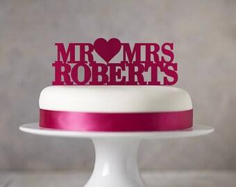 Personalised Mr 'Heart' Mrs Cake Topper