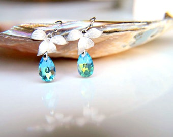 Earrings:CIJ Rhodium plated leaves with blue swarovski crystal, rhodium plated hooks hooks gift for  wedding, valentine's mother's day