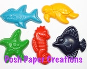 15 sea creature crayons - in cello bag tied with ribbon - choose your colors