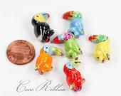 12/24/50pcs 21x20mm Porcelain Ceramic Parrot Bird Beads - Handpainted