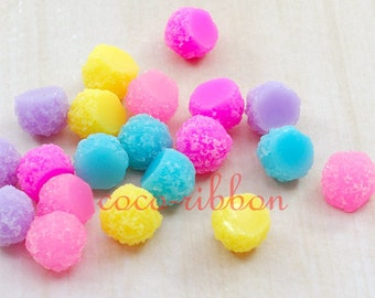 12mm 20~40pcs Mixed Sugar Candy Ball Flatback Resin Cabochons (C05)