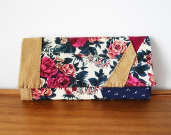 Plum, Navy, Floral, Camel Patchwork Cloth Trifold Clutch Wallet