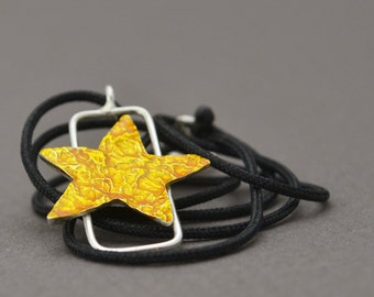 silver Necklace, star Necklace, liquid glass Necklace, yellow enamel Necklace