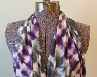 PREORDER! Tie Dye Infinity Scarf -- Ultra Violet and Charcoal Grey