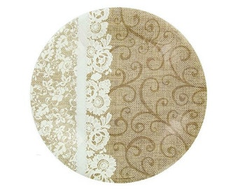 Set of 12 Burlap & Lace Dessert Wedding Party Paper Plates Rustic Country Chic