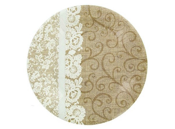 wedding cake plates and napkins burlap amp lace wedding dessert plate and dinner plate and 23504