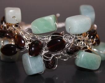 Handcrafted Pale Aqua Amazonite Bracelet with Smoky Quartz