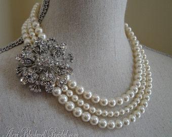 Complete Wedding Jewelry Set - Pearl Brooch Necklace Bracelet and Earrings 3 multi strands of Swarovski pearls bridal