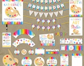 Art Painting Birthday Party Package Favors Banners Decorations - Printable DIY