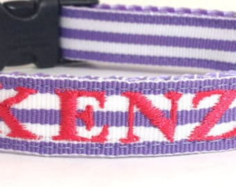 Personalized Dog Collar - Monogrammed Dog collar- Purple and white