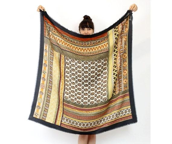 Coreen Simpson scarf | ethnic 90s Black Cameo print shawl