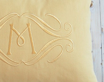 Monogrammed Pillow Cover Monochromatic Pillow Solid Yellow Pillow Embroidered Initial Monogram 12 x 16 Personalized Gift  Baby Wedding