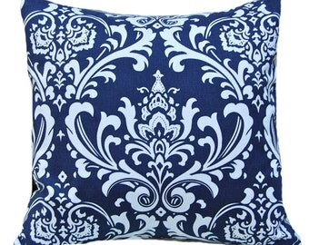 Decorative Throw Pillow Covers - Navy Blue Pillow Covers - Blue Pillowcase - Blue Throw Pillow Covers - 20 x 20 - Blue on White Damask