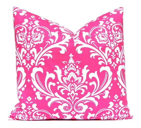 Hot Pink Pillow Covers Pink Damask on White Decorative